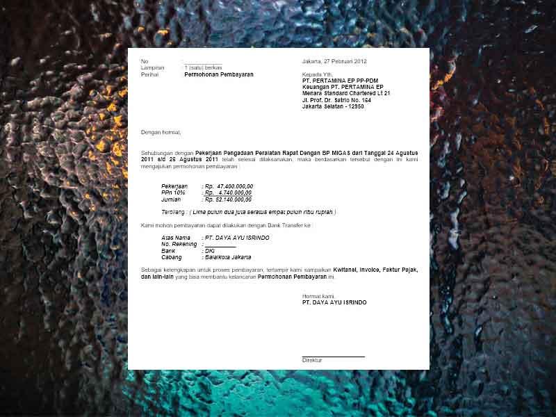Contoh Surat Permohonan Pembayaran Tagihan File Word Siajun Com