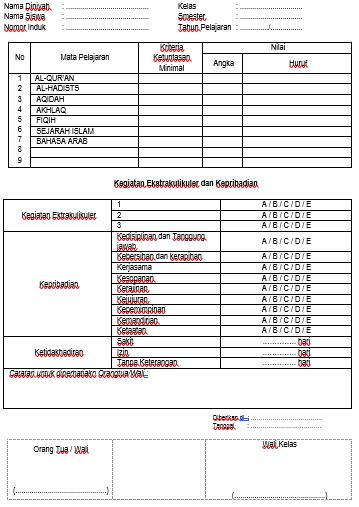 contoh buku raport